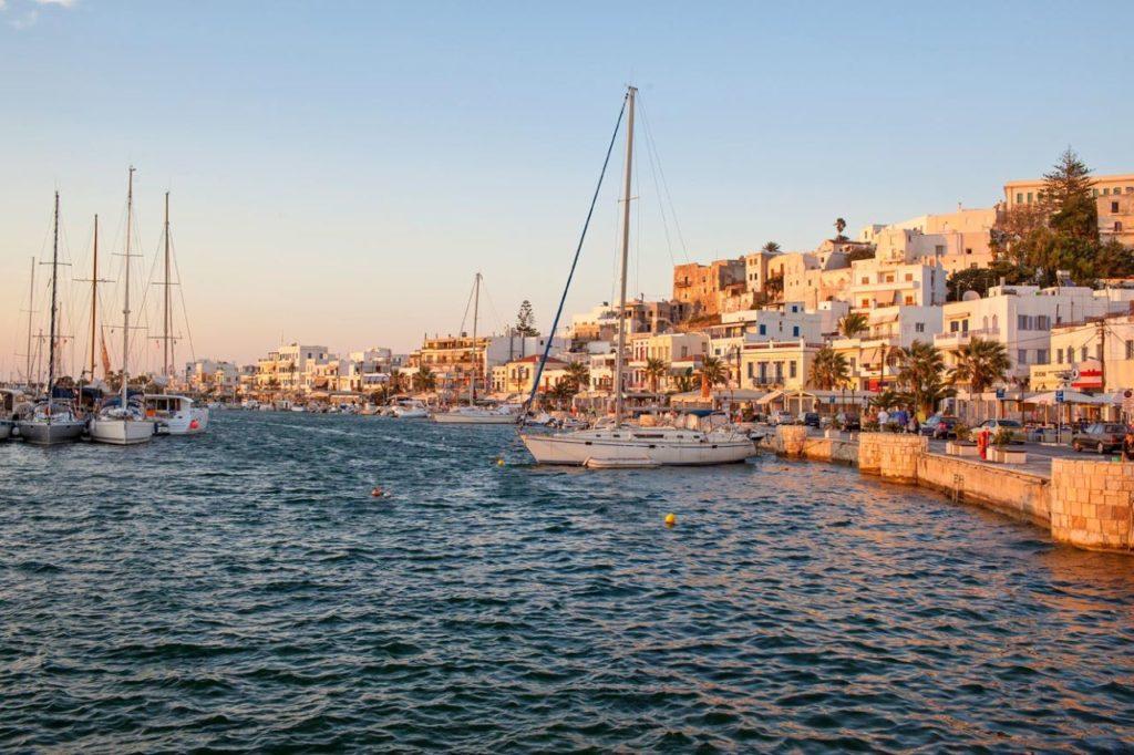 Früher Abend Blick auf Naxos