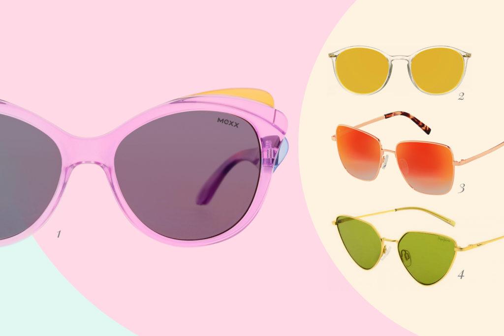 Sonnenbrille Im Trend sind Neon-Farben.