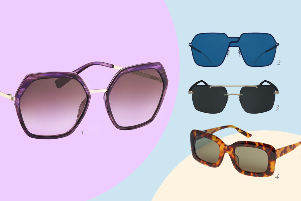 Im Trend sind 2021 Sonnenbrillen mit eckigen Formen.