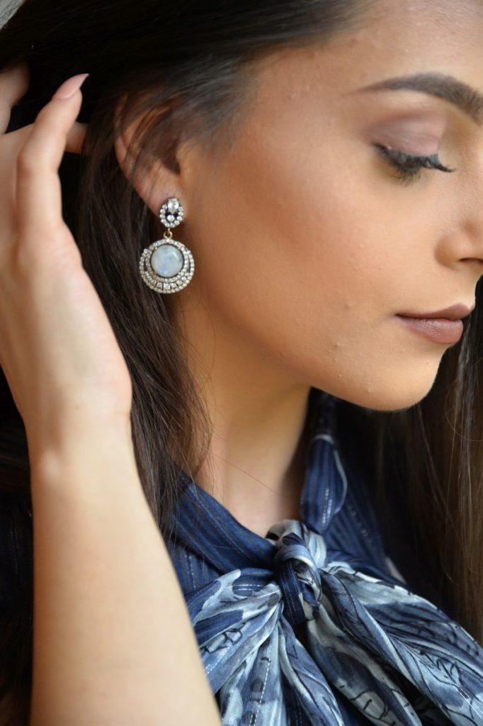 Mondstein-Ohrringe mit Swarovski-Kristallen